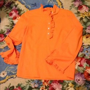 Tory Burch orange blouse with ruffles